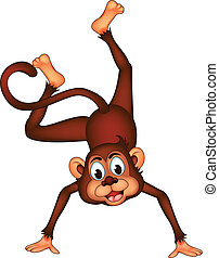 cute monkey cartoon expression - vector illustration of cute...