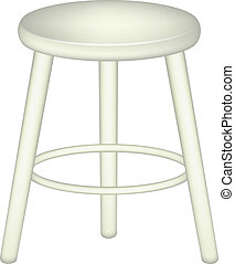 Retro stool in white design on white background