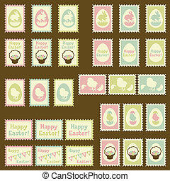 Happy Easter postage retro set