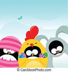 Penguins With Easter Costumes - Cute little penguins with...
