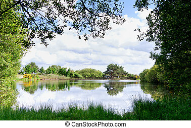 Lake in a sunny spring day