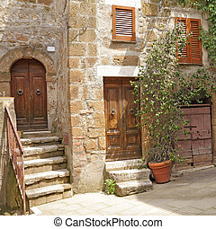 italian yard in tuscan village - picturesque nook in italian...