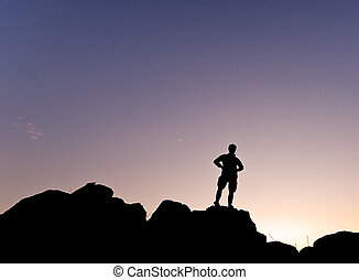 Man silhouete in the mountain - Ve - Man silhouette in the...