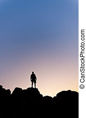 Man silhouete in the mountain - Ver - Man silhouette in the...