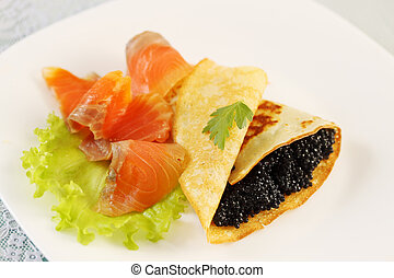 flapjack with caviar and salmon - ruddy flapjack with caviar...