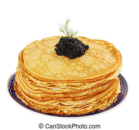 Shrove pancakes - stack of pancakes with caviar, isolated on...
