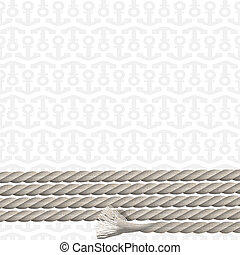 Background with pattern of anchors and marine rope. Vector...