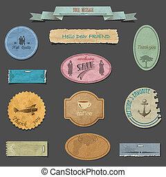 Vector set of paper vintage design elements