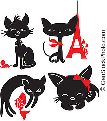 Set of cats silhouettes. Black and red