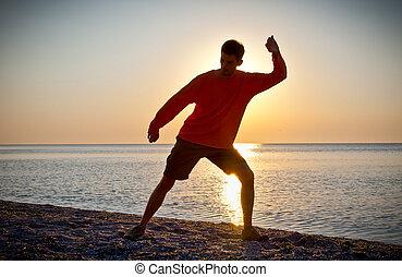 jovem, atraente, homem, fazer, Thai-chi, movimentos
