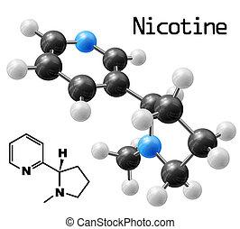nicotine molecule - structural model of nicotine molecule