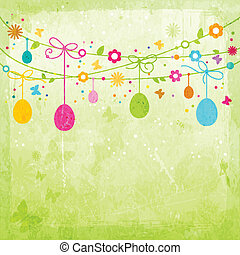 Colorful Happy Easter design - Hanging Easter eggs, flowers,...