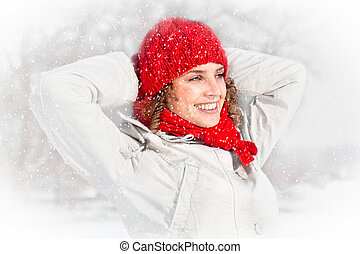 Happy young woman on the snow day. - Happy young woman on...