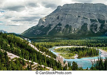 Bow River and the Hoodoos near Banff Canadian Rockies...
