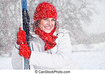Beautiful woman with snowboard on the snow day - Beautiful...
