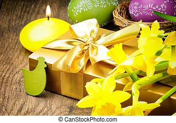 Easter setting with gift box