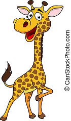 Funny giraffe cartoon - Vector illustration of funny giraffe...