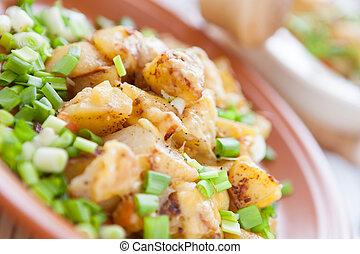 prato, queijo, ASSADO, verdes, batata