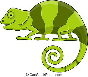 Cute chameleon cartoon - Vector illustration of cute...