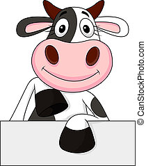 Cow with blank sign - Vector illustration of cow with blank...