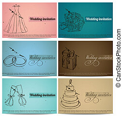 Vintage wedding invitation cards set. Vector illustration...