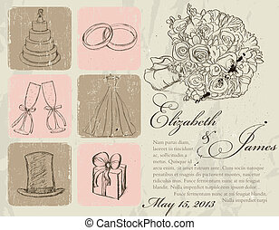Vintage wedding poster Vector illustration EPS8
