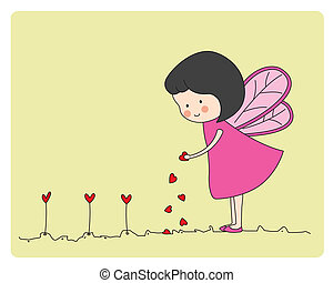 Fairy planting hearts - Card lovers. Fairy planting hearts.