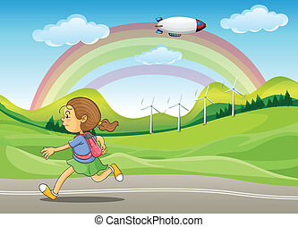 A student running in the street