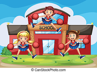 Cheerleaders performing in front of the school -...