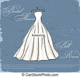 Vintage poster with beautiful wedding dress. Vector...