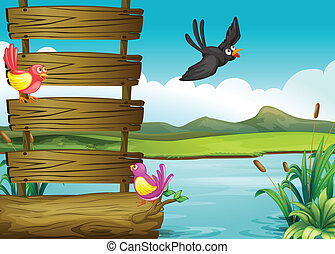 Birds near a blank wooden signage - Illustration of birds...