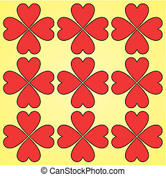 Red hearts seamless background pattern