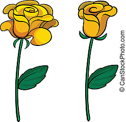 Two lovely flowers - Illustration of two lovely flowers on a...