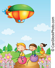 Three kids playing below an airship - Illustration of three...