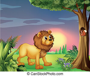 A lion watching a squirrel - Illustration of a lion watching...