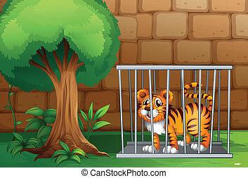 A tiger inside a steel cage - Illustration of a tiger inside...