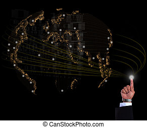 hand of business man with world net