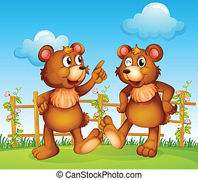 Happy faces of two bears - lllustration of the happy faces...