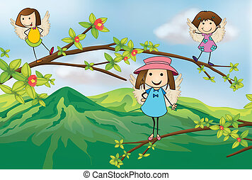 Angels playing at the branch of a tree