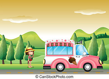 A pink ice cream bus and the little girl - Illustration of a...
