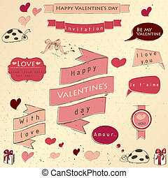 Set of vintage deign elements about love. Vector...
