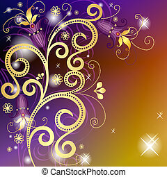 Gold and violet floral frame - Gold-violet-orange floral...
