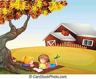 Kids reading under a big tree - Illustration of kids reading...