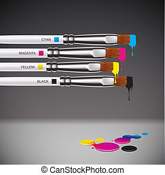 CMYK brushes on grey background, vector EPS10 illustration.