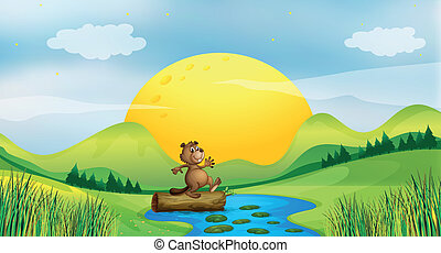 A beaver above a floating trunk - Illustration of a beaver...