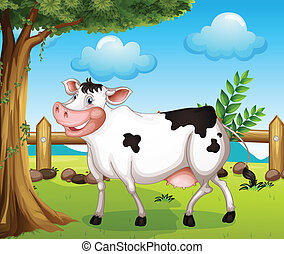 A cow in the backyard - Illustration of a cow in the...