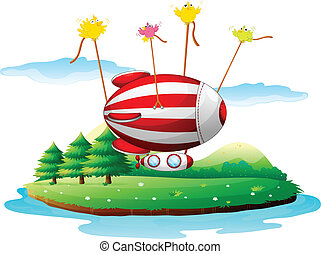 An airship above an island - Illustration of an airship...