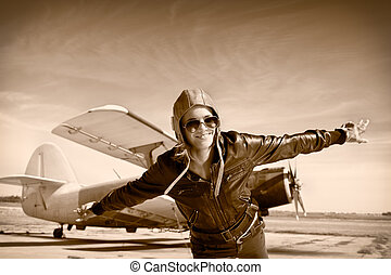 Happy young woman with raised hands  flying on airport,