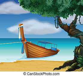 A wooden boat at the seashore - Illustration of a wooden...