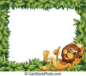 A lion with a crown in a leafy frame - Illustration of a...